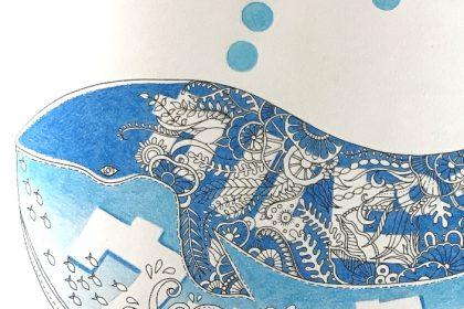 くじらの絵にカルピスの青色を塗ると?『海の楽園』は清涼感いっぱい!
