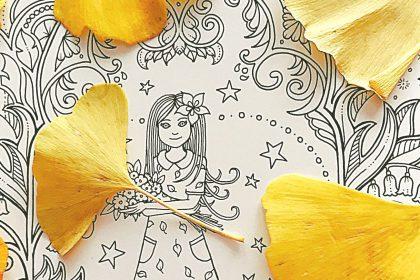 イチョウの葉っぱを背景に♪新刊の『アイビーと不思議な蝶』が完成!