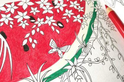 インパクト大?夏におすすめの塗り絵『ふしぎな王国』にスイカを描いた♪