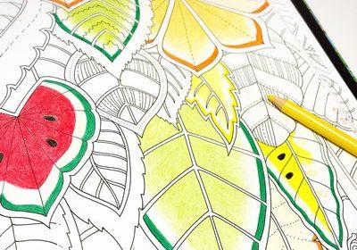 葉っぱが大きくて塗りやすい!『ふしぎな王国』の葉っぱをフルーツ柄にアレンジしたよ☆